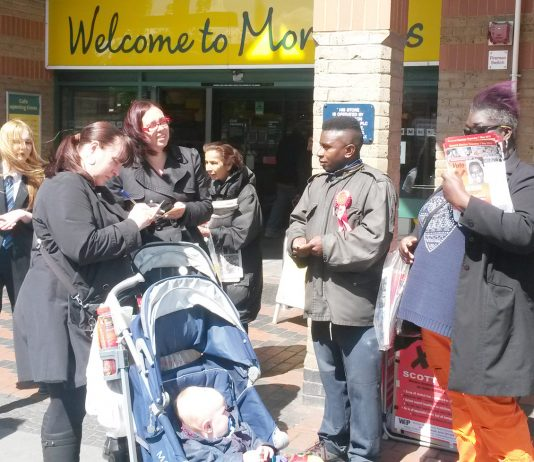 A very lively election campaign – Scott Dore (second from right) and supporters outside Morrison's in Acton