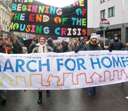 Tenants marching for homes to London's City Hall on January 31