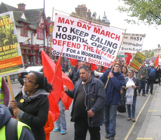 Workers Revolutionary Party and Young Socialists May Day March from Ealing Hospital calling for an occupation of the hospital