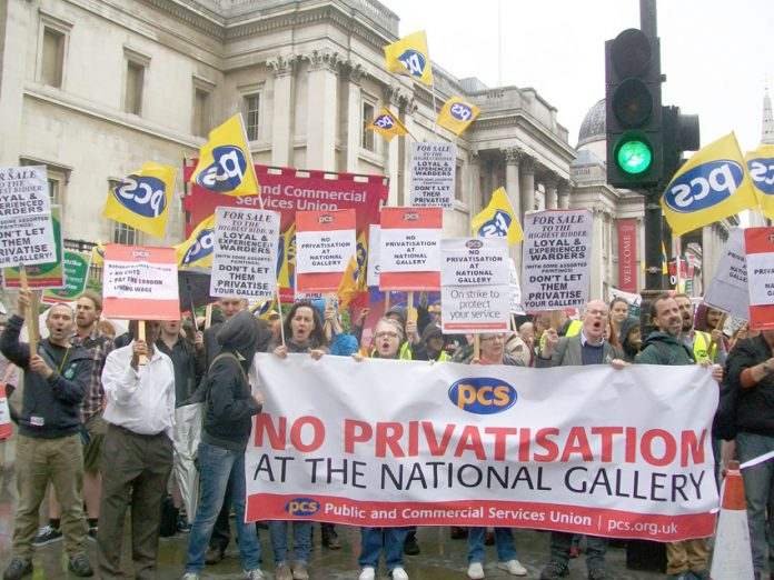 PCS members on the picket line outside the National Gallery demanding no privatisation