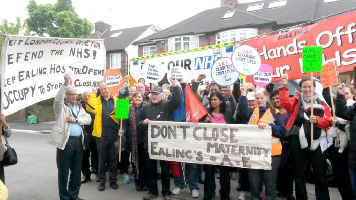 Ealing mothers, residents and trade unionists lobbying the CCG meeting yesterday demanding to occupy Ealing Hospital to stop the closure of the Maternity Department