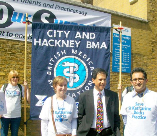 Dr CHAAND NAGPAUL, BMA GP Committee chair (2nd from right) at a march in Tower Hamlets last June against the closure of GP surgeries