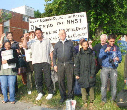 West London Council of Action picket of Ealing Hospital demanding trade unions support an occupation of the hospital to stop the closure