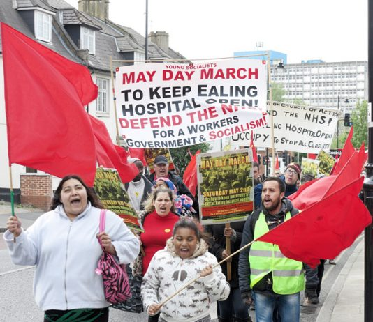 The march on May 2nd from the hospital into Ealing demanding that the maternity unit not be allowed to close