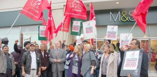 M&S workers on a demonstration fighting against sackings