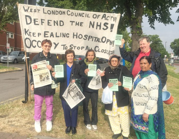 The picket of Ealing Hospital yesterday morning got a big response for Tuesday's public meeting and the march on 24th June to stop the closure of the Maternity Department