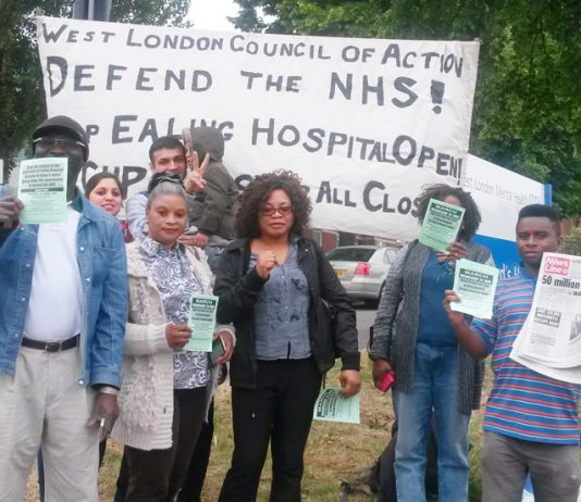 West London Council of Action picket outside Ealing Hospital yesterday morning determined to keep the Maternity Department open