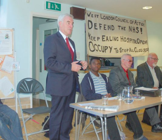 The platform at Tuesday night's meeting, L-R Jonty Leff, John McDonnell MP, Scott Dore, Hank Roberts, Dave Wiltshire, Julian Pallett