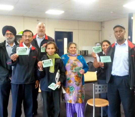 Busworkers & campaigners at Greenford Bus Garage yesterday – they are determined to occupy Ealing Maternity to keep it open