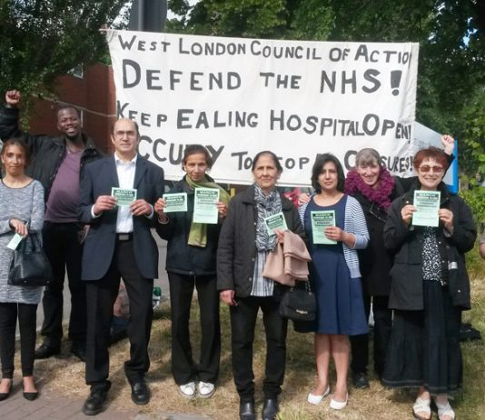 West London Council of Action pickets looking forward to the march into the hospital next Wednesday
