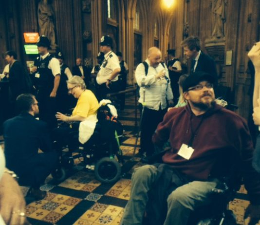 Disabled people stormed Parliament yesterday, angry at the abolition of the Independent Living Fund (Picture: John McDonnell)