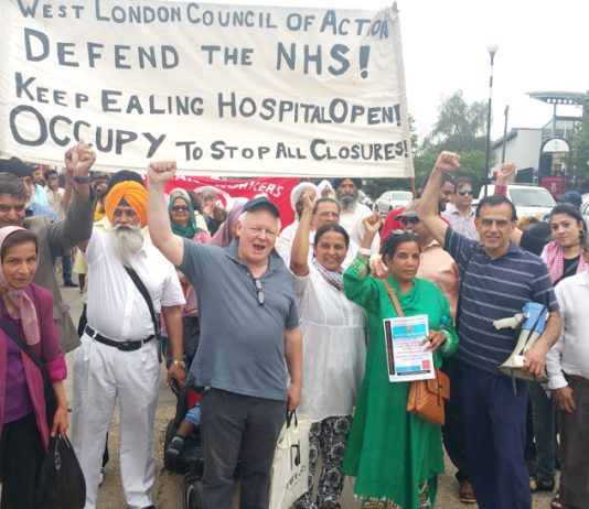 Marchers show their enthusiasm and determination before the march started in Southall yesterday