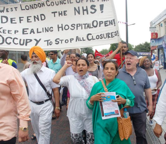 Workers and youth marching in Southall, furious that their vital maternity unit is being closed