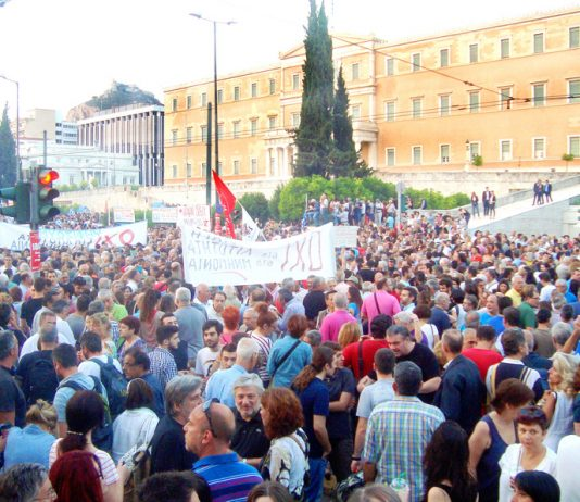 Greek workers and youth rally outside the Greek parliament for a 'no' vote in Sunday's referendum