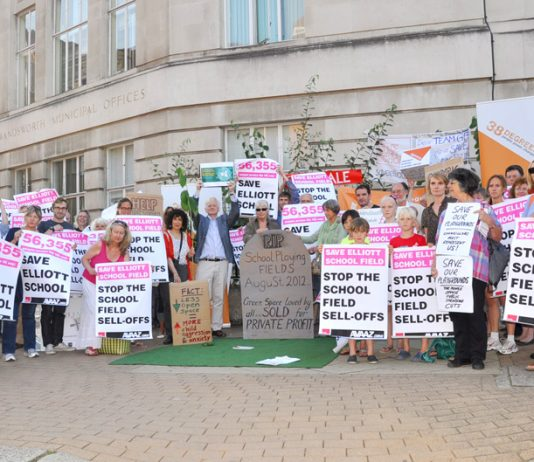 Teachers, parents and pupils demonstrate outside Wandsworth Town Hall in August 2013 against the Tory council's sell-off of the Elliott School playing field