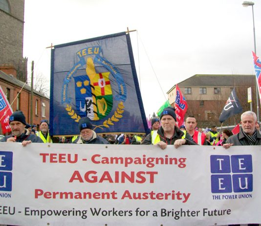 Banner on an Irish Congress of Trade Unions demonstration against austerity