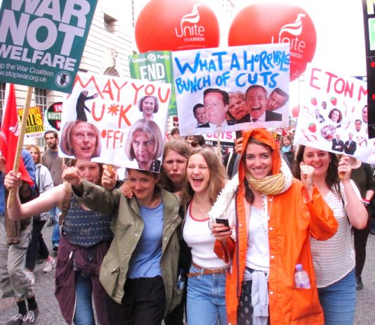 Part of the massive anti-austerity demonstration on June 20th when 250,000 marched on parliament – many more will march and take strike action to defend trade union rights