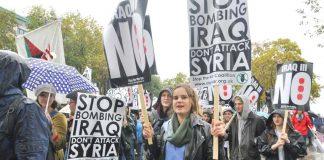 Marchers in London last October demanding no bombing of Syria