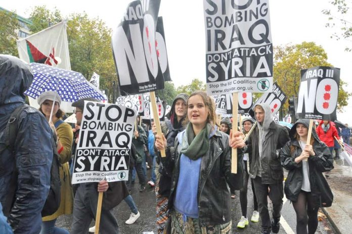 Marchers in London last October demanding no bombing of Syria