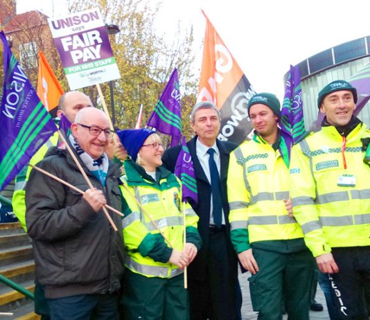 Ambulance workers picket at Waterloo – four more years of 1%wage 'rises'