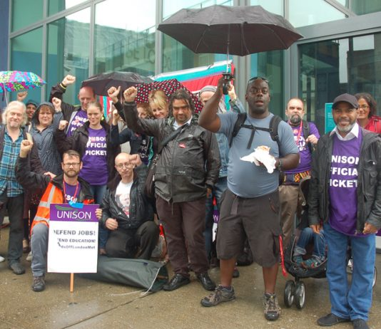 Enthusiastic Unison strikers at London Metropolitan University, Holloway Road, yesterday lunchtime