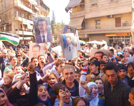 Syrians demonstrate in support of President Assad in Midan