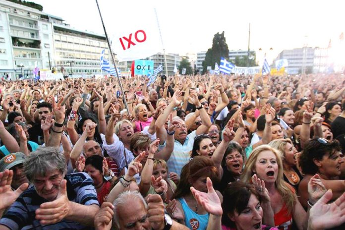 Ecstatic crowds greet the 'NO' vote against the Troika's austerity not knowing it will be betrayed by Syriza