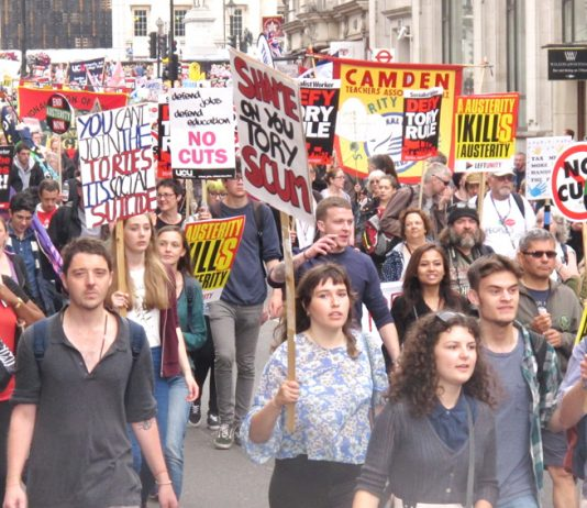 A section of the 250,000-strong demonstration on June 20th which showed that workers had had enough of austerity,  Tory or Labour