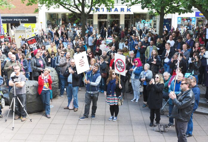 Mass protest in Norwich against benefit cuts and sanctions – deaf young people are being discriminated against