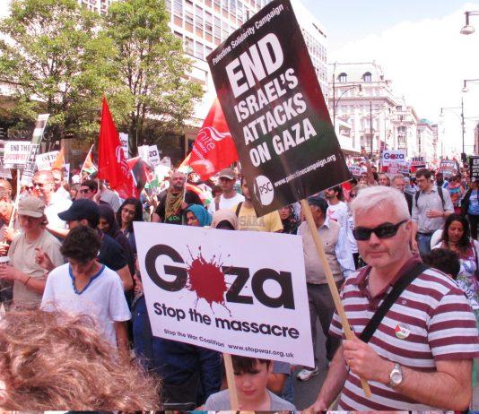 Marchers in London condemning Israeli war crimes in Gaza