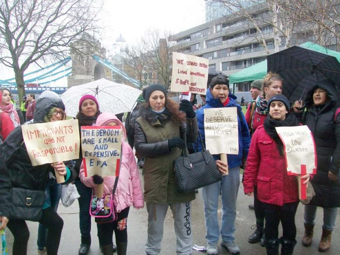 Migrants on the 'Right to Homes' march demanding decent, affordable housing – the Tories want to evict refugees en masse