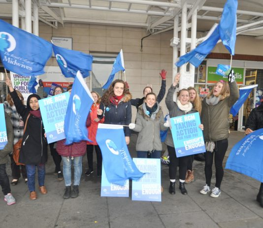The Royal College of Midwives taking strike action last year for the first time in their history