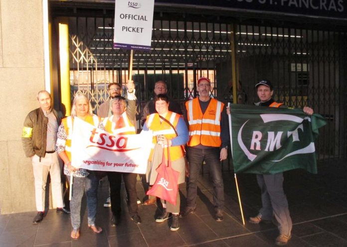 RMT and TSSA pickets at King's Cross Station during their previous strike on July 9th