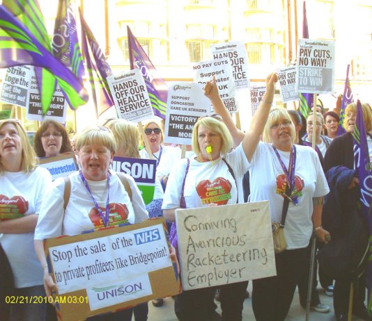Doncaster care workers battling to stop the sale of the NHS to private profiteers