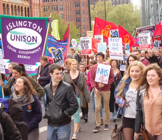 Youth marching in London insist that the NHS is not for sale