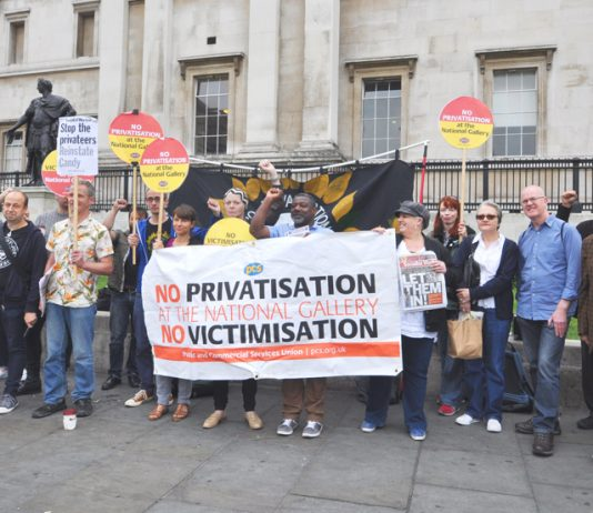 PCS strikers and their supporters on the picket line at the National Gallery on the first day of their indefinlte strike against privatisation