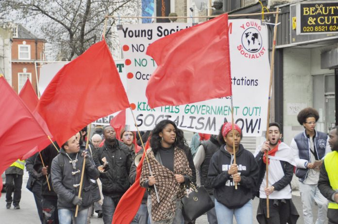 Young Socialists marching to kick out this Tory government – they will be lobbying the TUC on September 13th