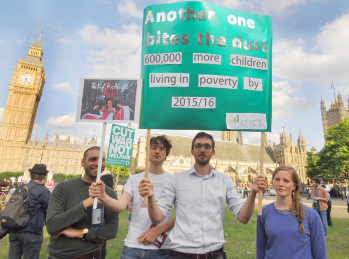 Protest outside Parliament on July 9th, the day Chancellor Osborne announced his massive austerity budget