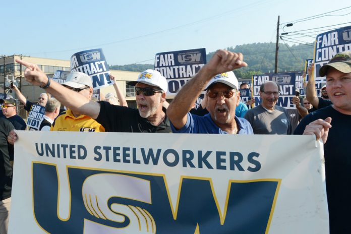 Locked-out USW members at the ATI facility in Midland, Pennsylvania
