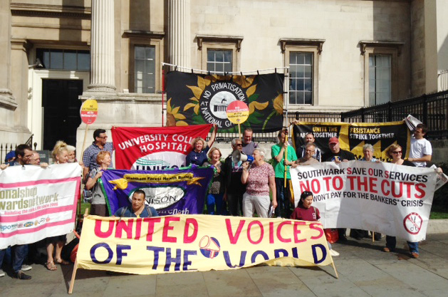 Well-supported picket at the National Gallery yesterday morning
