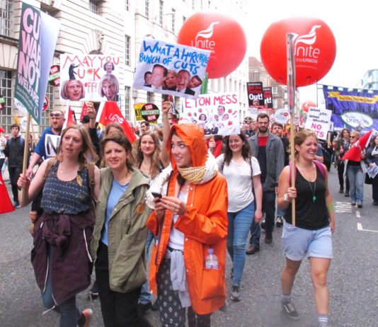 A section of the huge demonstration against Tory austerity on June 20