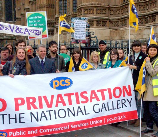 PCS leader MARK SERWOTKA with National Gallery workers demonstrating against privatisation outside parliament