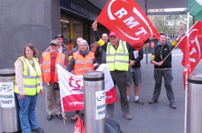 Tube workers on the picket line at King's Cross during strike action last month