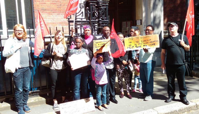Guinness Trust tenants outside Lambeth County Court yesterday supporting an appeal against repossession attempts by the Trust