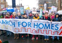 Thousands marched to City Hall, London, on 31st January to demand the building of council houses and the ending of evictions