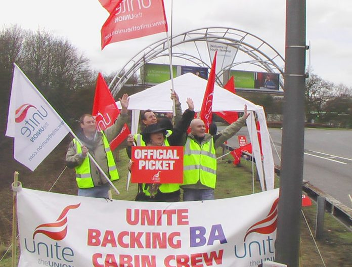 BA cabin crew on the picket line at Gatwick airport