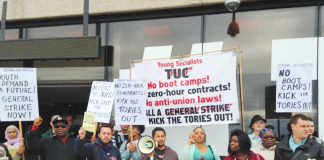 A section of Sunday's 100-strong YS lobby of the TUC Congress in Brighton