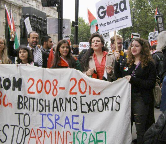 Demonstration outside Downing Street demanding the arrest of Israel's President Netanyahu during his visit on September 9th