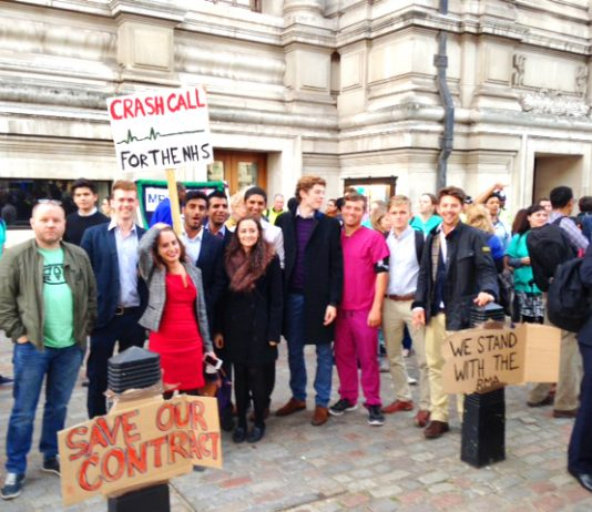 Junior doctors demonstrating in Westminster on September 28th. They intend to march on Parliament on Saturday October 17th