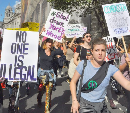 Some of the over 100,000 who marched in London on September 12th against the Tories asylum policies and in support of refugees